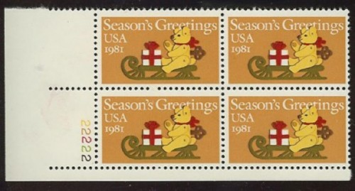 US Stamp #1940 MNH – Christmas Teddy Bear – Plate Block of 4