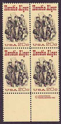 US Stamp #2010 MNH – Horatio Alger – Plate Block / 4