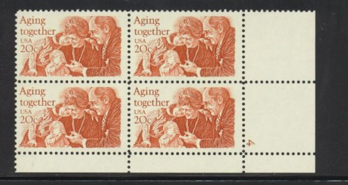 US Stamp #2011 MNH – Aging Together – Plate Block / 4