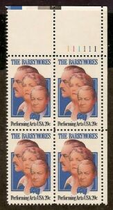 US Stamp #2012 MNH – The Barrymores – Plate Block of 4
