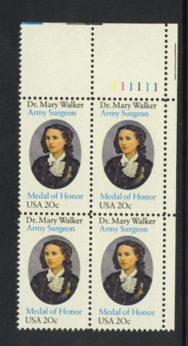 US Stamp #2013 MNH – Dr. Mary Walker – Plate Block of 4