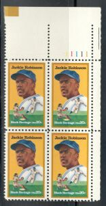 US Stamp #2016 MNH – Jackie Robinson – Plate Block of 4