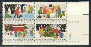 US Stamp #2027-30 Se-Tenant Christmas Scenes Plate Block/4