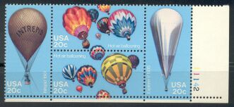 US Stamp #2032-5 MNH Balloons Se-Tenant Plate Block of 4