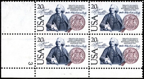 US Stamp #2036 MNH Amity and Commerce w/ Sweden Plate Block / 4