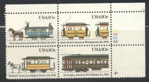 US Stamp #2059-62 MNH -Streetcars Se-Tenant- Plate Block / 4
