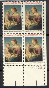 US Stamp #2063 MNH Madonna and Child Plate / ZIP Block of 20