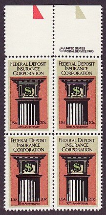 US Stamp #2071 MNH – F. D. I. C. – Plate Block of 4