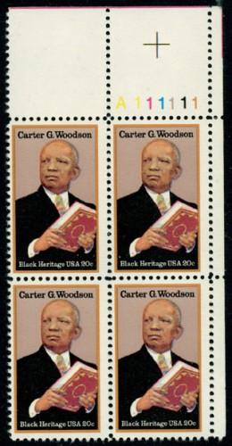 US Stamp #2073 MNH – Carter Woodson – Plate Block / 4