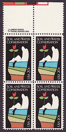 US Stamp #2074 MNH – Soil and Water Conservation – Plate Block / 4
