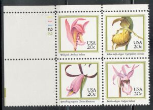 US Stamp #2076-2079 MNH – ORCHIDS – Plate Block / 4