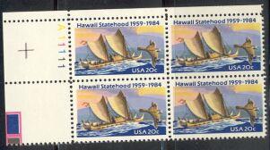 US Stamp #2080 MNH – Hawaii Statehood – Plate Block / 4