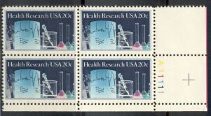 US Stamp #2087 MNH – Health Research – Plate Block / 4