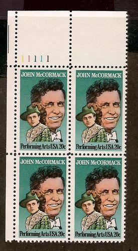US Stamp #2090 MNH – John McCormack – Plate Block / 4