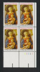 US Stamp #2107 MNH – Madonna and Child – Plate Block of 10