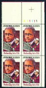 US Stamp #2110 MNH – Jerome Kern – Plate Block of 4