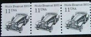 US Stamp #2131 MNH – Stutz Bearcat Coil Strip of 3