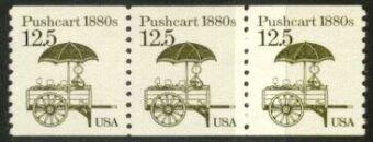 US Stamp #2133 MNH – Pushcart Coil Strip of 3