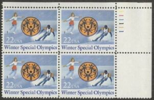 US Stamp #2142 – Winter Special Olympics – Plate Block of 4