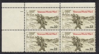 US Stamp #2154 MNH – Veterans of WWI – Plate Block of 4
