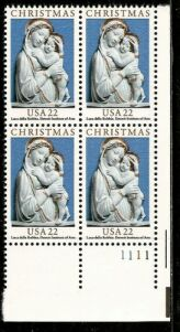 US Stamp #2165 – Christmas Madonna/Child – Plate Block of 4