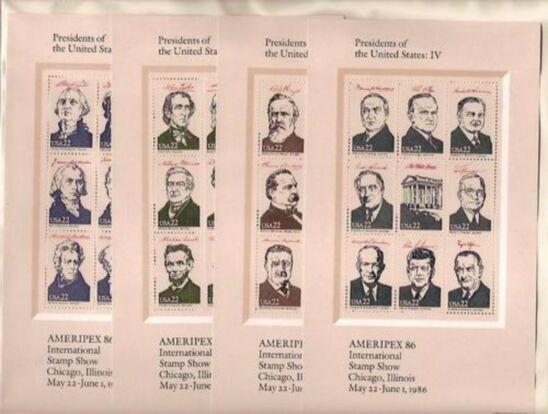 US Stamp #2216-2219 MNH Ameripex '86 Presidents Mini-Sheets