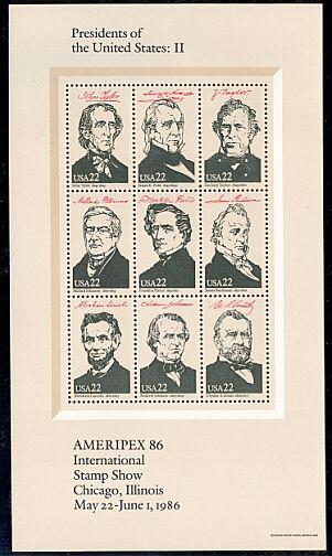 US Stamp #2217a-i MNH Ameripex Se-Tenant Souvenir Pane of 9