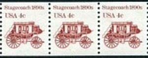 US Stamp #2228 MNH – Stagecoach Coil Strip of 3