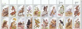US Stamp #2286-2305 No.Amer.WildLife Plate / ZIP Block of 20
