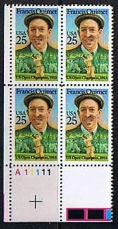 US Stamp #2377 – Francis Ouimet – Plate Block of 4