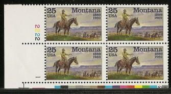 US Stamp #2401 – Montana – Plate Block of 4