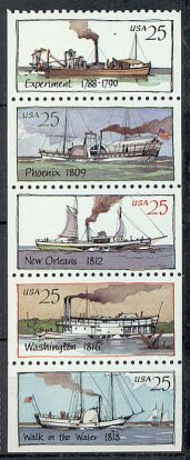 US Stamp #2409a – Steamboats UNFOLDED/UNBOUND – Booklet Pane of 5