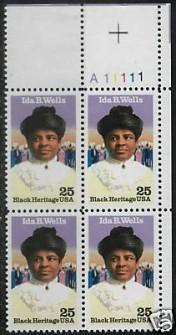 US Stamp #2442 MNH – Ida B. Wells – Plate Block/4