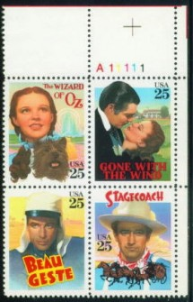 US Stamp #2445-8 – Classic Films – Plate Block of 4