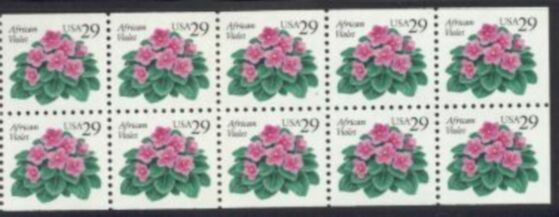 US Stamp #2486a MNH – African Violets Booklet Pane