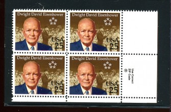 US Stamp #2513 – Dwight Eisenhower – Plate Block of 4