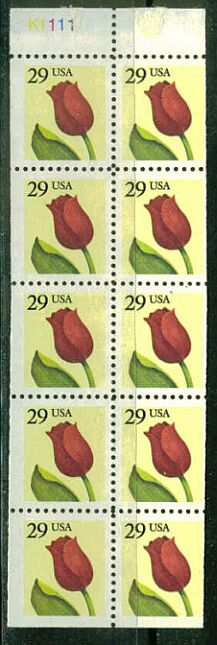 US Stamp #2527a – Tulips – UNFOLDED/UNBOUND Booklet Pane of 10