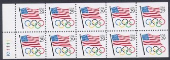 US Stamp #2528a Flag/Olympic Rings – UNFOLDED/UNBOUND Booklet Pane of 10