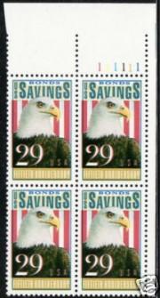 US Stamp #2534 MNH – Savings Bonds – Plate Block of 4
