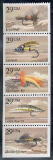 US Stamp #2549a – Fishing Flies – UNFOLDED/UNBOUND Booklet Pane of 5