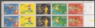 US Stamp #2553-7 MNH – Olympics '92 SeTenant Plate Block 10