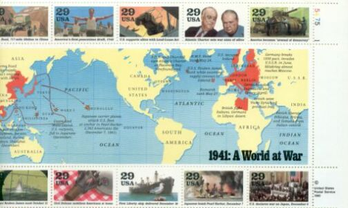 US Stamp #2559 – World War II – 1941 Plate Block/10