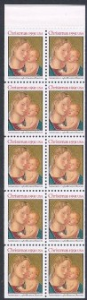 US Stamp #2578a – Christmas Madonna – UNFOLDED/UNBOUND Booklet Pane of 10