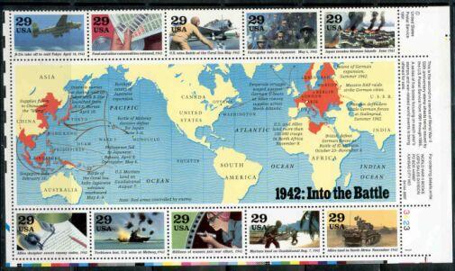 US Stamp #2697 – World War II – 1942 Plate Block/10