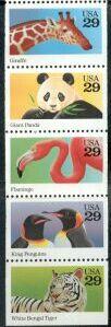 US Stamp #2709a – Wild Animals – UNFOLDED/UNBOUND Booklet Pane of 5