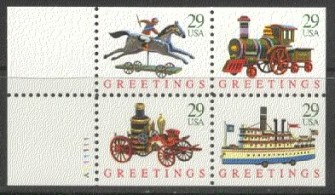 US Stamp #2718a – Christmas Toys – UNFOLDED/UNBOUND Booklet Pane of 4