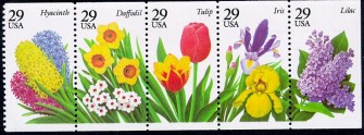 US Stamp #2764a – Garden Flowers – UNFOLDED/UNBOUND Booklet Pane of 5