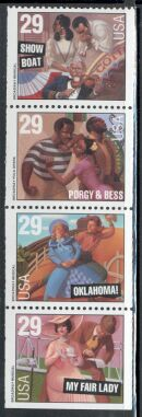 US Stamp #2770a – Broadway Musicals – UNFOLDED/UNBOUND Booklet Pane of 5