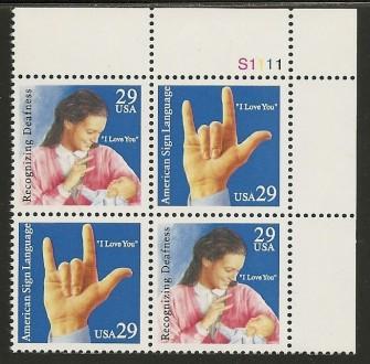 US Stamp #2783-4 MNH – Signing SeTenant – Plate Block/4