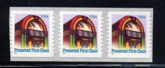US Stamp #2912B MNH – Jukebox Coil Strip of 3 w/ Back #